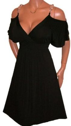 FUNFASH SLIMMING BLACK EMPIRE WAIST BACK COCKTAIL DRESS WOMENS Plus Size Made in USA,$59.99