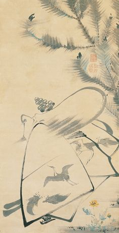 Ito Jakuchu, Japanese, Fukurojin (Fukurokuju), the God of Longevity and Wisdom, c. 1790, Japan, Edo period (1617–1868), Hanging scroll; ink and light colors on paper, Kimbell Art Museum - 伊藤若冲 - Wikipedia