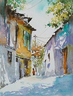 Мастера акварели: Mineke Reinders Love the colors in this painting and how the shadows make me feel like it& a lazy spring afternoon. Art Aquarelle, Watercolor Sketch, Watercolor Artists, Watercolor Techniques, Watercolor Paintings, Watercolors, Watercolor Architecture, Watercolor Landscape, Landscape Paintings