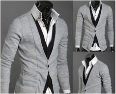 Mens Layered Look Button-up Cardigan