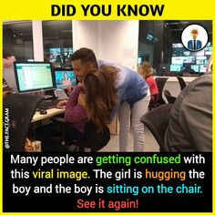 Image may contain: 1 person, text that says 'DID YOU KNOW @ Many people are getting confused with this viral image. The girl is hugging the boy and the boy is sitting on the chair. See it again! Boy Facts, Wierd Facts, Intresting Facts, Real Facts, Wtf Fun Facts, True Facts, Funny Facts, Funny Jokes, Stupid Funny