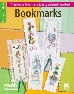 Bookmarks - Treat your favorite reader to a special marker with a beautiful cross stitch design. Perfect for prefinished bookmarks made of 14 and 18 count cross stitch fabric, here are a dozen designs featuring flowers, butterflies, birds, and pottery. One incorporates the readerís monogram and another spells out READ in fun patterned letters.