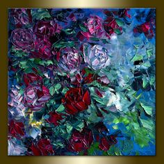 Original Rose Roses Floral Textured Palette Knife Painting Oil on Canvas Contemporary Modern Art 20X20 by Willson Lau