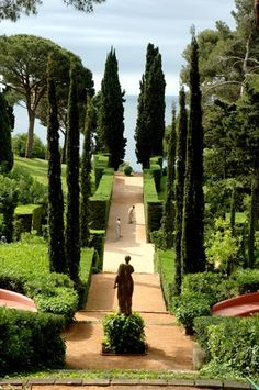 Santa Clotilde Gardens, Spain. Lloret de Mar, Girona, Catalonia, Spain. The garden is set on a rocky Costa Brava hillside, made in the 1920's. The style can be compared with that of Iford Manor in England and the Villa Ephrussi de Rothschild in France: it is Arts and Crafts with a fond backward glance to Italy. Santa Clothilde makes brilliant use of evergreens and has great stairways flanked with statuary.