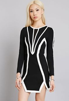 Tiger Mist Contrast Striping Bodycon Dress | FOREVER21 - 2000053939
