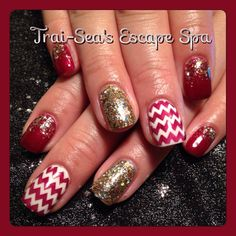 Red Chevrons with Gold Accent by Trai-Sea's Escape Spa @nydokus