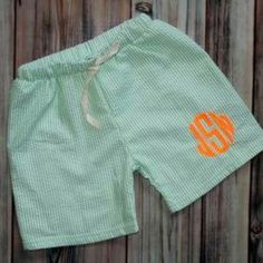 Starting at only $14.95, the little guys in your life will look adorable in these seersucker swim trunks! Also available in red and blue!
