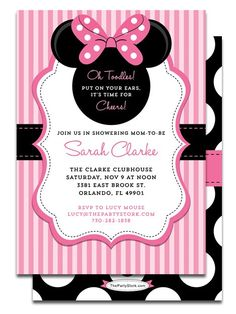 Nice Tips Easy to Create Baby Minnie Mouse Baby Shower Invitations Free Ideas Mini Mouse Baby Shower, Mickey Mouse Baby Shower, Baby Mouse, Minnie Mouse Theme Party, Minnie Mouse 1st Birthday, Mouse Parties, Minnie Mouse Invitation, Minnie Cake, Pink Minnie