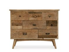 Swoon Editions Retro style chest of drawers in reclaimed elm - just &pound… Contemporary Bedroom Furniture, Contemporary Cabinets, Contemporary Style, Botanical Bedroom, Swoon Editions, Trellis Pattern, Grey Wash, Mid Century Style, Accent Rugs