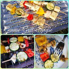 Gemüse (nach Belieben) und Grillkäse etwas dicker schneiden und aufspießen. Mit Kräutersalz, Pfeffer würzen und mit Kräuteröl beträufeln. Anschließend ab auf den Grill.... Hmmmmm