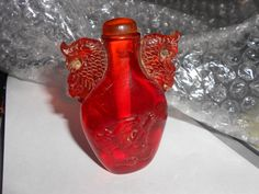 Dragon Snuff Fu Dog Amber Peking Glass Antique Snuff Bottle Beautiful Asian Collectible With Lid, c. 1910's
