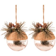 Snow-Filled Jute Ball Ornaments with Greenery