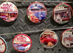 Pike Place Market themed ornaments from the artist Kim Drew.