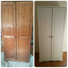 Before and after upcycled pine wardrobe. Rust Oleum Satin Furniture paint in shortbread.