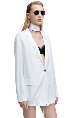 Ryley masculine suit jacket with drawstring waist and gold metal detailing #AcneStudios #SS15