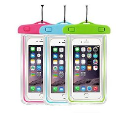 [3 Pack] Waterproof Case CaseHigh Shop Best Way to Keep Your Phone and Valuables Safe and Dry Water Proof- Dust Dirt Proof-Snowproof Pouch for Cell Phone up to 5.8 inches (Pink+ Green+Blue)