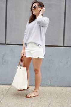 my everyday style: beach vibes! (The Good Life For Less) Slouchy Sweater, Sweater Shop, White Denim Shorts, Spring Summer Fashion, Spring Break, Western Michigan, Warm Weather, Everyday Fashion, Life Is Good
