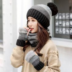 c5f7c8c1872 Color block pom pom knit hat scarf and gloves set for women winter wear