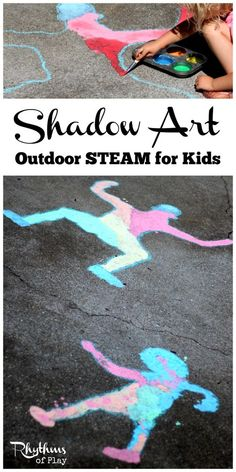 Shadow art outdoor science is a hands-on STEAM activity that will help children learn about shadows while making art. A great learning activity for homeschooling and a fun outside art and science activity for toddlers, preschoolers, kids and even adults.