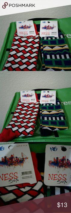 2 Pairs of Ness Sox Chicago Bulls Colors/Utah Jazz Colors Underwear & Socks Athletic Socks