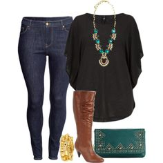"""""""Squash Blossom - Plus Size"""" by alexawebb on Polyvore - love the black shirt with brown boots"""