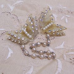 Vintage Sweater Guard ... 1950'S ... Rhinestone and Pearl Butterflies