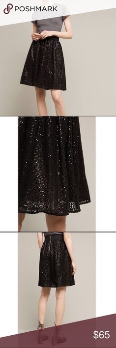 NWOT Anthropologie Eri + Ali Night Shimmer Skirt S NWOT Anthropologie's Eri + Ali Night shimmer skirt Sz Small. Gold lining with sparkling outer shell. Perfect for the holidays! Tiny hole on back waist band. Inside tag is cut. Anthropologie Skirts
