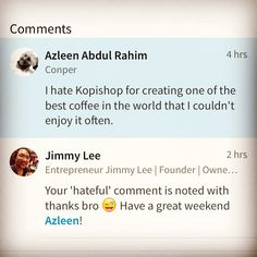 We do take 'hateful comments' very seriously at The KopiShop by YummyLicious ☕️ We look forward to serve awesome coffee to Azleen everyday! #thekopishop #kedaikopi #luvyummylicious #yummyliciousburgers #bukitdamansara #damansaraheights #greatcoffee #comment #azleenabdulrahim