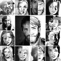 Algunos protagonistas de la serie de The Walking Dead y su retrato en el comic.