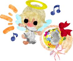 バレンタインにも使えるフリーのイラスト素材花籠を持つ可愛い天使  Free Illustration which is usable to Valentine Pretty angel having a flower basket   http://ift.tt/2iZtSuG