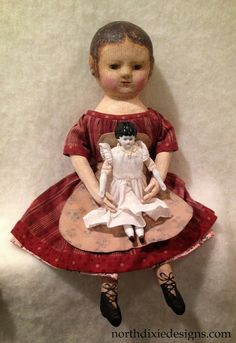 An Izannah Walker inspired doll by Dixie Redmond.  Recently offered to my email list for adoption.  :-)
