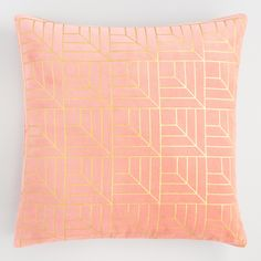 Coral and Gold Metallic Geo Print Velvet Throw Pillow by World Market