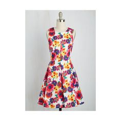 Mid-length Sleeveless A-line Oh Crafty Day! Dress ($70) ❤ liked on Polyvore featuring dresses, apparel, fashion dress, multi, a line dress, colorful dresses, white flower dress, sleeveless a line dress and pleated a line dress