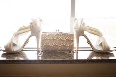 High heel white wedding shoes with pearl clutch