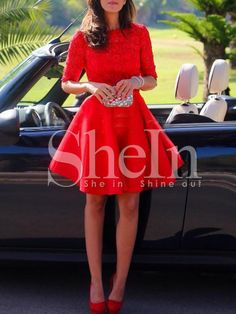 robe avec dentelle manches mi-longue -rouge -French SheIn(Sheinside)Site Mobile