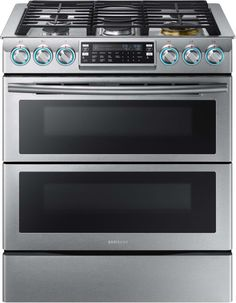 Charmant Samsung NX58K9850SS   Stainless Steel 30 Inch Dual Oven Slide In Gas Range  With FlexDuo Dual Door And Blue LED Knobs