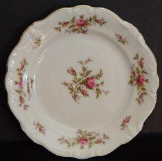 Moss Rose by Haviland Bavaria, German White Porcelain Pink Rose, Bread Plate #JohannHavilandBavaria