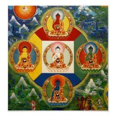 Tibetan Buddhist Thangka of Five Buddha Families Tibetan Art, Tibetan Buddhism, Buddhist Art, Shiva, Vajrayana Buddhism, Buddhist Practices, Thangka Painting, Buddhist Traditions, Sacred Art