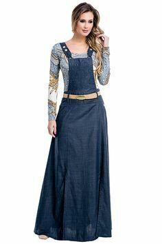 Trendy Denim Long Maxi Dress Fashion for Ladies – Designers Outfits Collection Fashion Mode, Hijab Fashion, Fashion Dresses, Womens Fashion, Denim Maxi Dress, Dress Skirt, Feminine Style, Skirt Outfits, Dress Collection