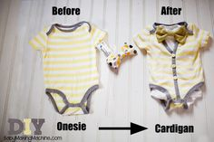 DIY Cardigan onesie tutorial.