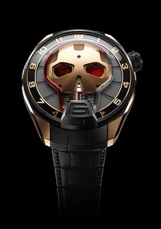 The #HYT Skull Red Eye watch with red fluid and a case combining DLC titanium with 5N rose gold, is limited to 25 pieces.