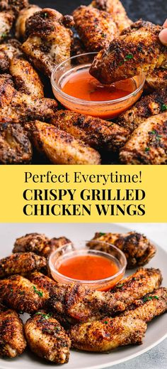 #ad These crispy grilled chicken wings are simple, easy, and delicious! The wings are seasoned beautifully with the homemade spice rub, made of basic pantry ingredients. The meat is so tender and moist on the inside while crispy on the outside. It's the perfect crispy chicken wings recipe without all of the oil and deep-frying! #chickenwings #grilledchickenwings #grilling #wings #saltpepperchicken #crispychicken #simplybetterchicken Ground Chicken Recipes, Baked Chicken Recipes, Turkey Recipes, Grilling Recipes, Cooking Recipes, Pasta Recipes, Grilled Chicken Wings, Chicken Wing Marinade, Deep Frying