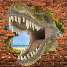 Trompe l 39 oeil murals sticker mural trompe l 39 oeil dinosaure tyrex - Stickers trompe oeil mural ...