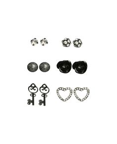 6 On Rhinestone Heart Earring Set | Shop Accessories at Wet Seal
