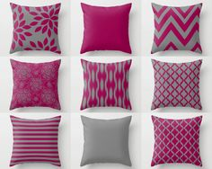 Throw Pillow Covers Home Decor Fuchsia Grey by HLBhomedesigns