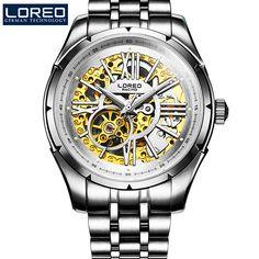 LOREO Austria Diamond all hollow water resistant 316L stainless steel blue diamond coated mirror luxury men business watch