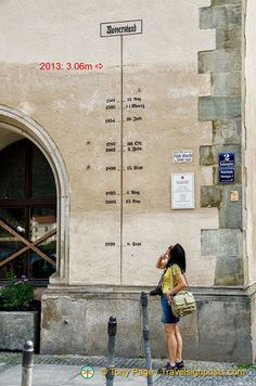 Passau 2013 Danube River Flooding as measured on the wall of its Town Hall