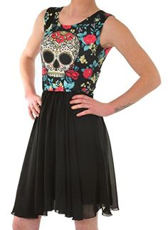 Punk Rock Girl Day Of The Dead Flower Sugar Skull Black Chiffon Skirt Party Dress