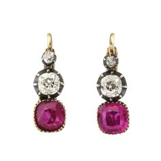 Victorian Ruby and Diamond Drop Earrings - A La Vieille Russie - http://www.alvr.com/