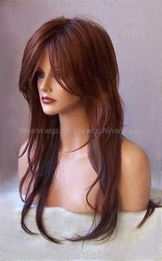 2Tone Auburn Red w Deep Auburn Brown Undertone Extra Long Womens Wig UK | eBay